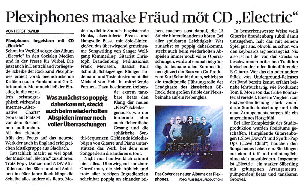 "Press: Plexiphones maake Fräud möt CD ""Electric"""